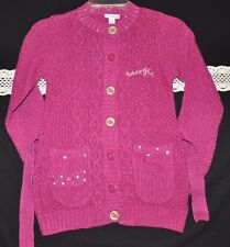 NWT Naartjie Kids Sequin Bow Long Sweater Cardigan (Size 8, XXL) Cranberry
