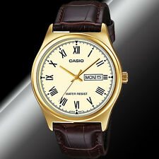 Casio MTP-V006GL-9B Mens Analog Gold Tone Watch Brown Leather Band Day Date New
