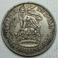 1936 UK Great Britain 1 Shilling silver coin