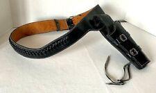 "Western Cowboy Style Black Leather Single Holster Pistol Case Belt Adult 36""-39"""