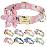 Floral Printed Nylon Dog Collar with Custom Personalized Engraved Nameplate