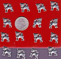 YOU GET 15 SILVER TONE  METAL PUG DOG PENDENT CHARMS - FROM  U.S. SELLER. - C 6