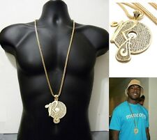 """Iced Out Hip Hop Crystal Rocafella Records  Pendant Necklace Franco Chain 36"""""""