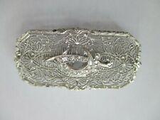 Filigree Women'S Shriner Pin / Brooch Estate 14K White Gold And Diamonds