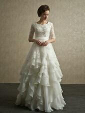 Modest Layers Organza Lace Wedding Dress A-Line Bridal Gown Custom Size 4-28++