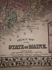 1876 Mitchell's New Atlas Antique Vintage Map Of Maine