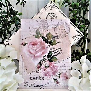 Holz Postkarte Muttertag Vintage Grußkarte Nostalgie Shabby Deko Bild Rosen