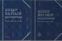 4 DIFFERENT BLUE EMPTY WHITMAN CARD COIN FOLDERS FOR HALFPENNY COINS