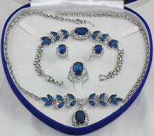 18K Gold Plated Inlay Blue crystal Necklace Bracelet Ring Earring set  no box