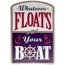 """COLLECTIBLE EMBOSSED METAL SIGN """"WHATEVER FLOATS YOUR BOAT""""  Nautical Home Decor"""
