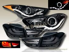 FOR 11-13 ELANTRA HALO CCFL PROJECTOR HEADLIGHTS LED STRIP + LED TAIL LIGHTS SMK