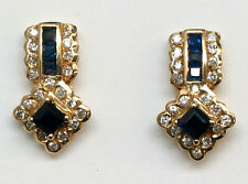 Genuine Sapphire and Diamond Earrings in 14K Yellow Gold
