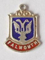 Falmouth  vintage sterling silver shield enamel travel charm