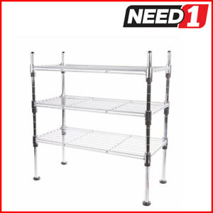 Chrome Finish Wire Rack. 3 Tier. Dimensions: 191mm D x 441mm W x 460mm H