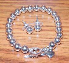 Genuine Ralph Lauren Shiny Silver Tone Beaded Bracelet & Earrings Set **READ**