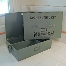 Vtg Industrial Steel 2-pc Latching Spares Parts Tool Kit Case by MONARCH~RARE!