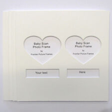 Baby Scans Photo Mount witha pair of Heart Shape window pack of 5