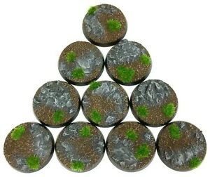 Rocks - Round Resin Bases 32 mm - 10 Painted/Unpainted Bases for Warhammer