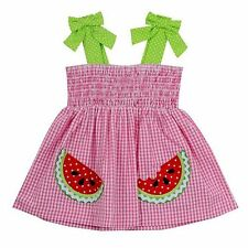 Cute Girl Girls 24 Months Watermelon Seersucker Sundress Dress Rare Editions 2T