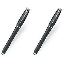 Set Of 2 Parker Urban London Cab Black Chrome Trim rollerball Pens In Gift Box
