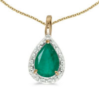 """14k Yellow Gold Pear Emerald Pendant with 18"""" Chain"""