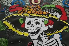 """""""Day of the Dead""""Skeletons Mexican Multicolored Oilcloth PVC Tablecloth Black"""