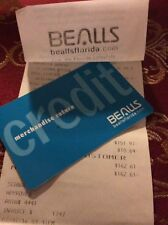 BEALLS DEPT STORES CREDIT OR MERCHANDISE CARD WITH $162.61. CARD DOES NOT EXPIRE
