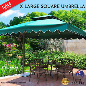 Square Umbrella Outdoor Garden 3.5M Diameter Cantilever Green Large Canopy New
