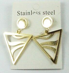 Women's Large Gold Drop Dangle Stud Triangle Earrings Statement Stainless Steel