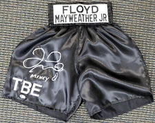 "FLOYD MAYWEATHER JR. AUTOGRAPHED BLACK BOXING TRUNKS ""MONEY"" BECKETT 159666"