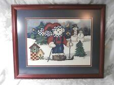 TEDDY BEAR ON SKIS SNOWMEN WINTER CHRISTMAS COMPLETED & FRAMED CROSS STITCH ART