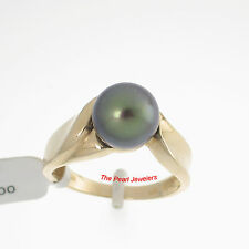 14k Solid Yellow Gold Sets AAA Lustrous Black Cultured Pearl Solitaire Ring TPJ