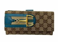 Auth GUCCI Horse Bit Canvas Leather Long Wallet Italy Y-1634