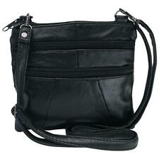Embassy™ Solid  Black Genuine Leather Purse or Shoulder Bag - Women's Handbag