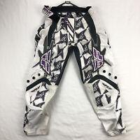 Fly Racing Kinetic Girls Size 3-4 White Purple Motocross MX Dirt Bike Pants