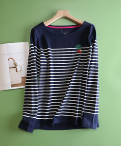 New Ex JOULES UK Size 22 Womens Harbour Carrot Embroidered Stripe Jersey Top