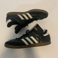 Used  Size 10.5 Adidas Samba Shoes Black White Red