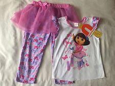BNWT Nickelodeon Dora The Explorer Girls Tutu Pajama Sets 4-5 Years Old