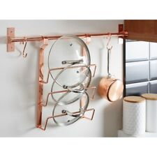 Rose Gold Metal Hanging Pan Lid Rack Kitchen Wall Storage exigeant caddy holder