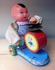 Vintage VTG Drummer Topknot Kid Hi-Hat Wind Up Tin Moving Arm Collectible Toy