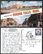 1961 Minnesota Postcard - Fergus Falls - Roosevelt High Scool and Lincoln Street