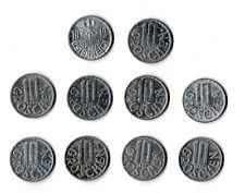 10x 10 Groschen Austrian Aluminium Coins 1953 - 1991