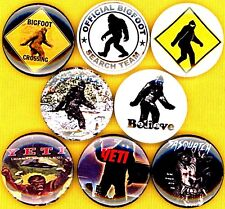 "Bigfoot 8 New 1"" buttons pins badge search team crossing yeti sasquatch"