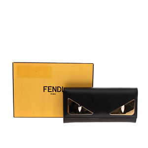 RRP €615 FENDI ROMA Leather Monster Clutch Wallet Popper Flap Made in Italy
