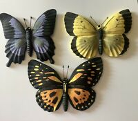 "Set Of 3 Ceramic Butterfly Wall Hanging Decor 7""W x 6.75"" H by LTD Colorful"