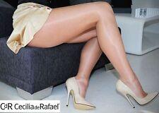 Cecilia De Rafael Vidrio Pantyhose #234 Gloss Shine Sz 5=XL FUME Black Z70