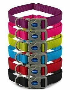 Ancol Viva Dog Collar Nylon Adjustable Red Blue Black Petrol Purple Teal 3 Sizes