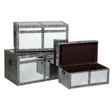 BLACK SILVER EMBOSSED MIRRORED GLASS SET OF 3 STORAGE TRUNKS CHESTS (T4328) BALI