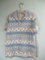 St. John's Bay Women's Size Medium 100% Cotton Floral Short Sleeve Polo Shirt