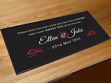 Personalised First dance wedding Song lyrics black Venue bar runner